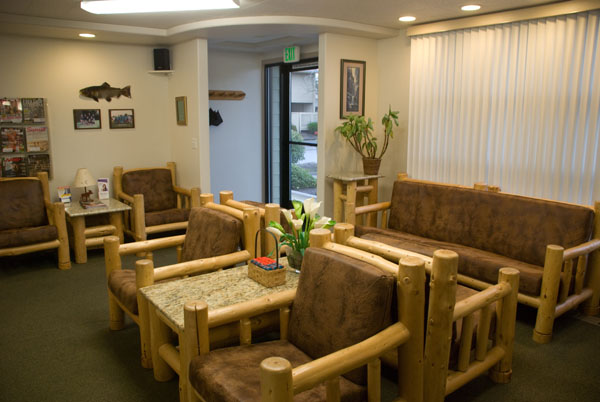 The reception area at Woods Family Dentistry